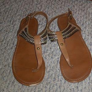 American Eagle T-Strap Sandals, size 8